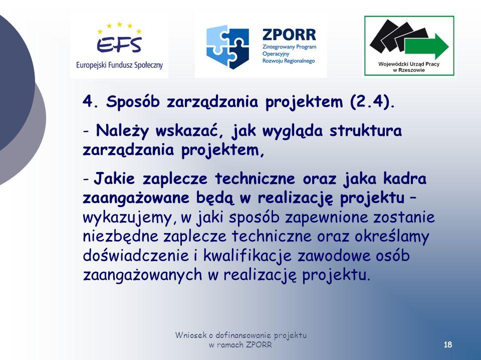 Wniosek o dofinansowanie projektu w ramach ZPORR18 4.