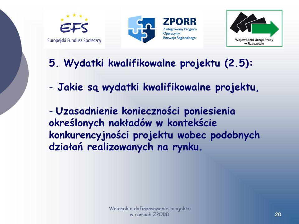 Wniosek o dofinansowanie projektu w ramach ZPORR20 5.