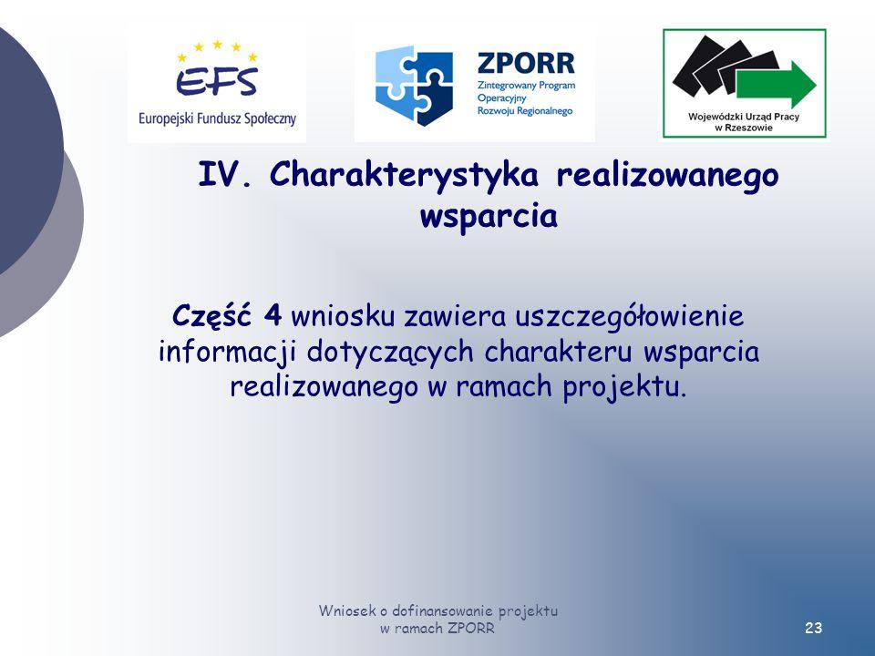 Wniosek o dofinansowanie projektu w ramach ZPORR23 Część 4 wniosku zawiera uszczegółowienie informacji dotyczących charakteru wsparcia realizowanego w ramach projektu.