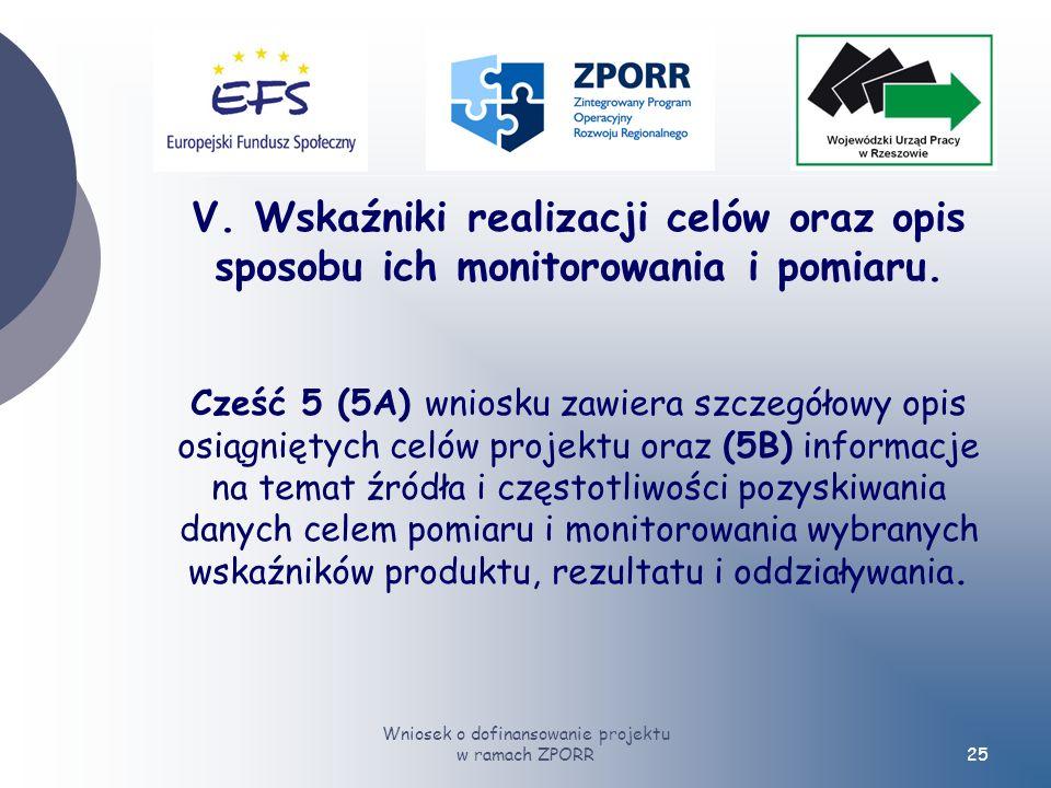 Wniosek o dofinansowanie projektu w ramach ZPORR25 V.