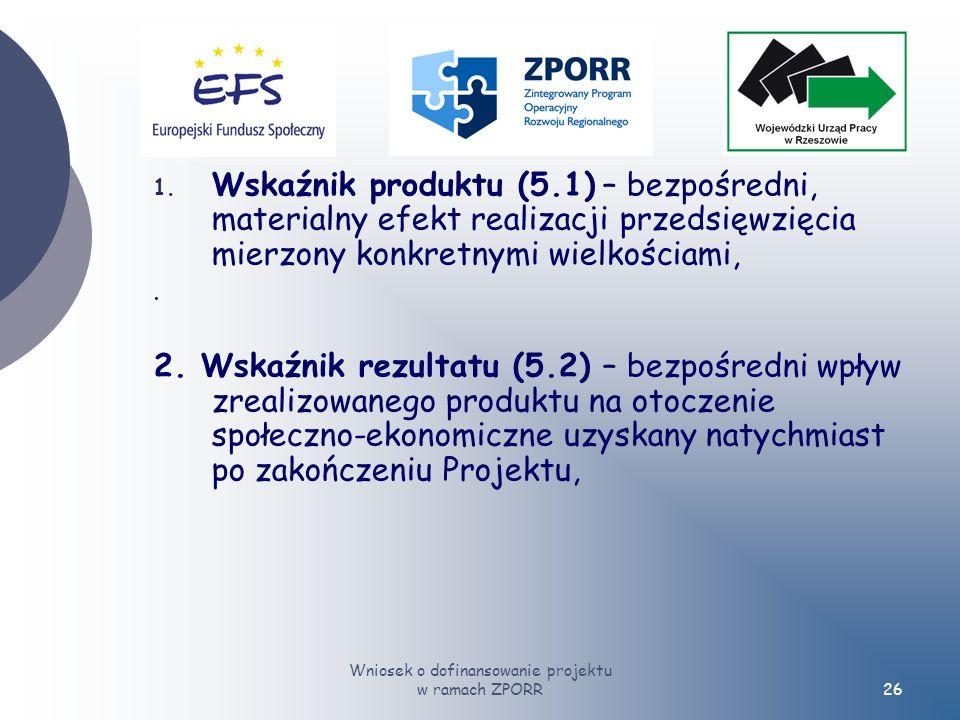 Wniosek o dofinansowanie projektu w ramach ZPORR26 1.
