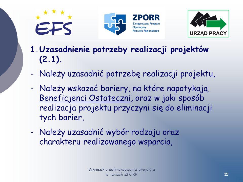 Wniosek o dofinansowanie projektu w ramach ZPORR12 1.Uzasadnienie potrzeby realizacji projektów (2.1).