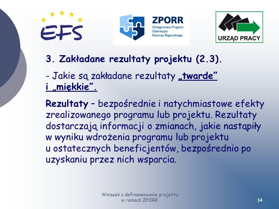Wniosek o dofinansowanie projektu w ramach ZPORR14 3.