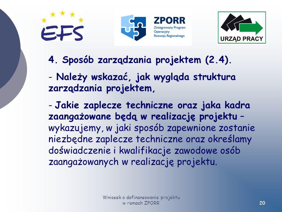 Wniosek o dofinansowanie projektu w ramach ZPORR20 4.