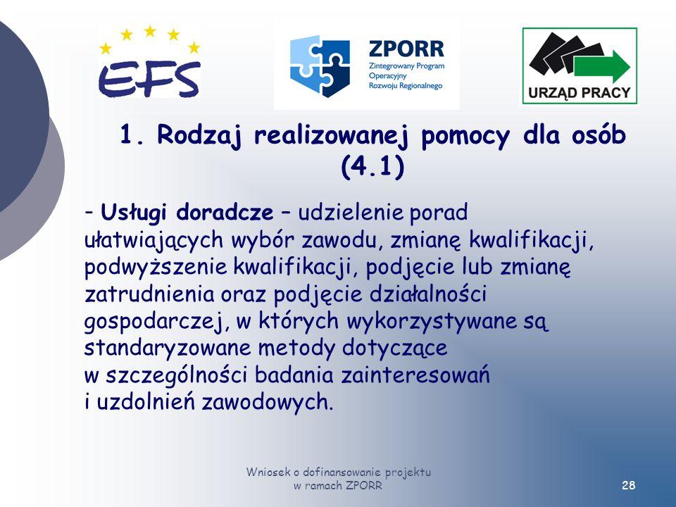 Wniosek o dofinansowanie projektu w ramach ZPORR28 - Usługi doradcze – udzielenie porad ułatwiających wybór zawodu, zmianę kwalifikacji, podwyższenie kwalifikacji, podjęcie lub zmianę zatrudnienia oraz podjęcie działalności gospodarczej, w których wykorzystywane są standaryzowane metody dotyczące w szczególności badania zainteresowań i uzdolnień zawodowych.