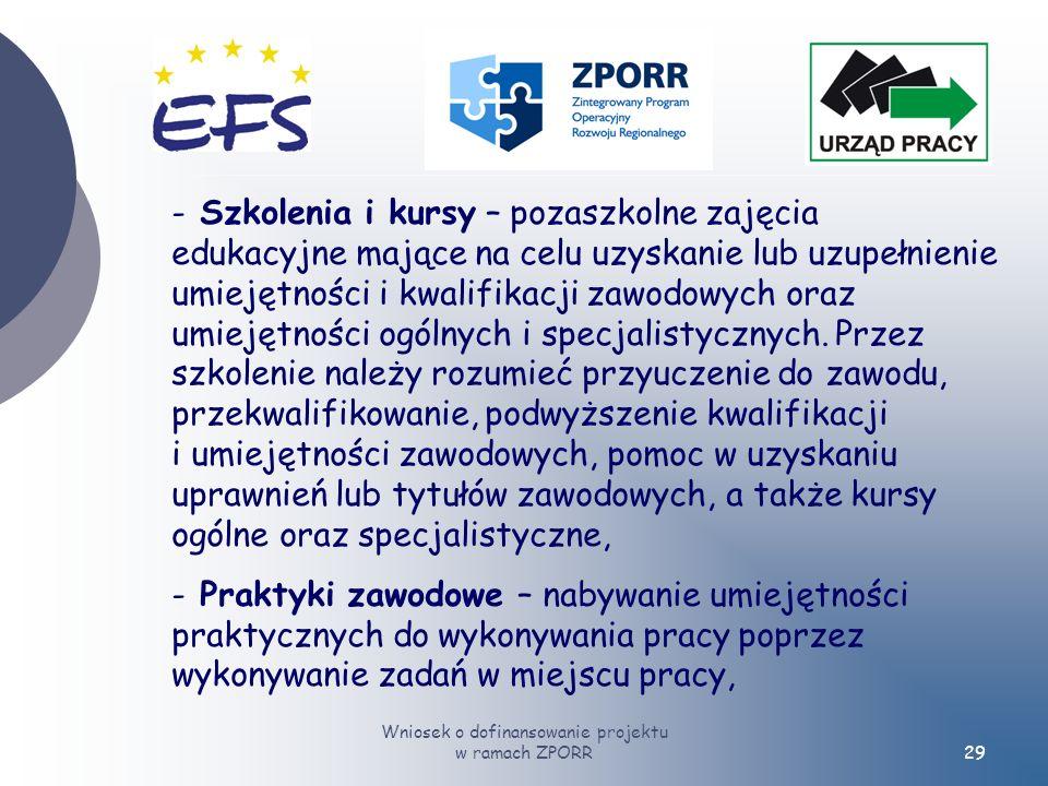 Wniosek o dofinansowanie projektu w ramach ZPORR29 - Szkolenia i kursy – pozaszkolne zajęcia edukacyjne mające na celu uzyskanie lub uzupełnienie umiejętności i kwalifikacji zawodowych oraz umiejętności ogólnych i specjalistycznych.