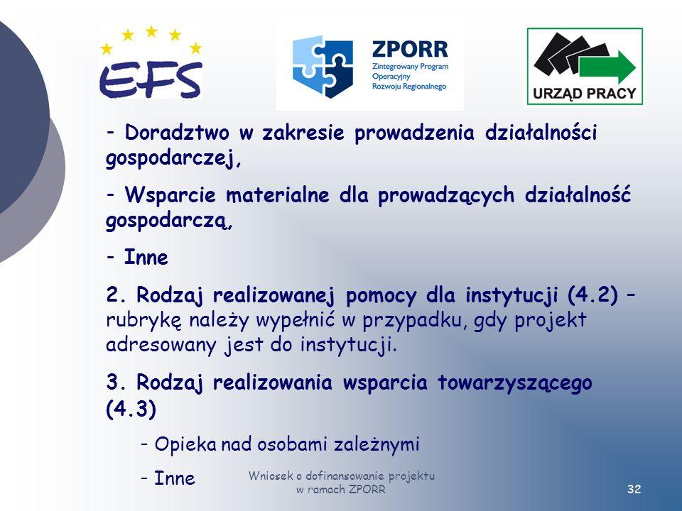 Wniosek o dofinansowanie projektu w ramach ZPORR32 - Doradztwo w zakresie prowadzenia działalności gospodarczej, - Wsparcie materialne dla prowadzących działalność gospodarczą, - Inne 2.
