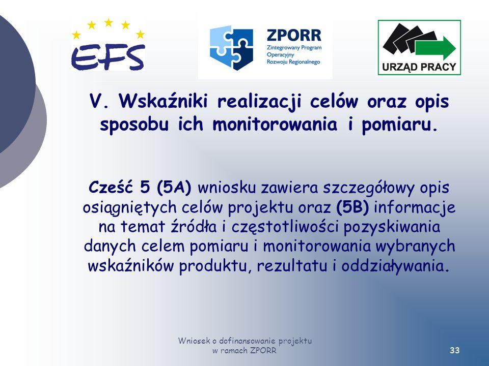 Wniosek o dofinansowanie projektu w ramach ZPORR33 V.