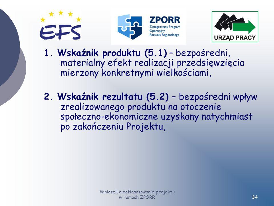 Wniosek o dofinansowanie projektu w ramach ZPORR34 1.