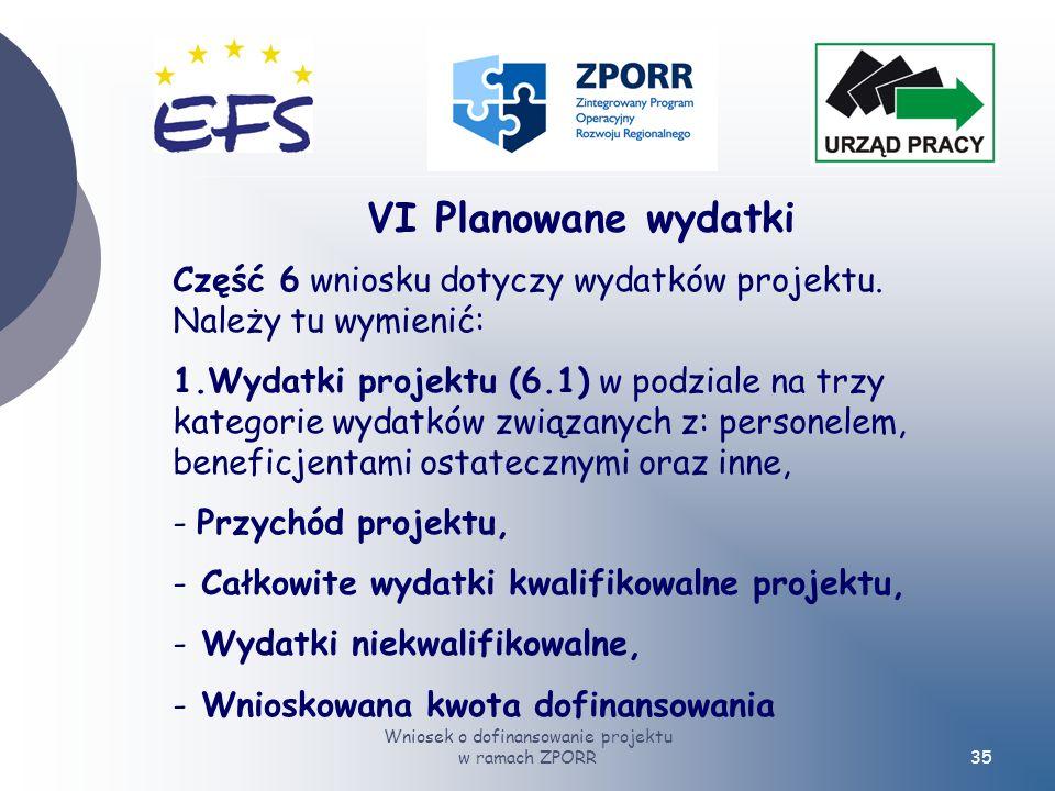Wniosek o dofinansowanie projektu w ramach ZPORR35 VI Planowane wydatki Część 6 wniosku dotyczy wydatków projektu.