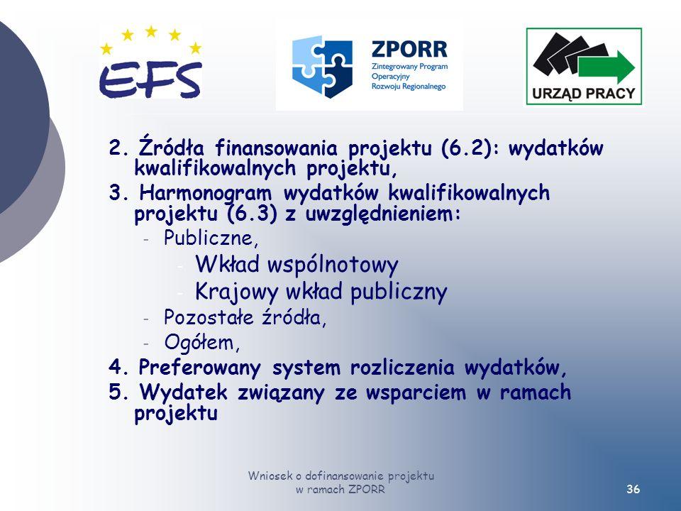 Wniosek o dofinansowanie projektu w ramach ZPORR36 2.