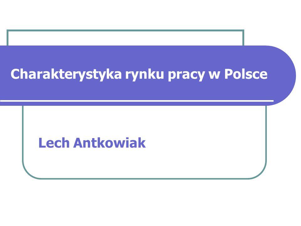 Charakterystyka rynku pracy w Polsce Stopa bezrobocia rejestrowanego, na podstawie liczby pracujących w końcu czerwca, wyniosła w lipcu 2006 15,7 proc.