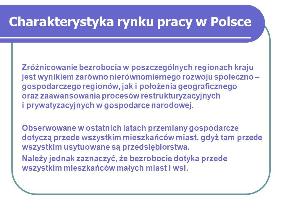 Charakterystyka rynku pracy w Polsce Zróżnicowanie bezrobocia w poszczególnych regionach kraju jest wynikiem zarówno nierównomiernego rozwoju społeczn