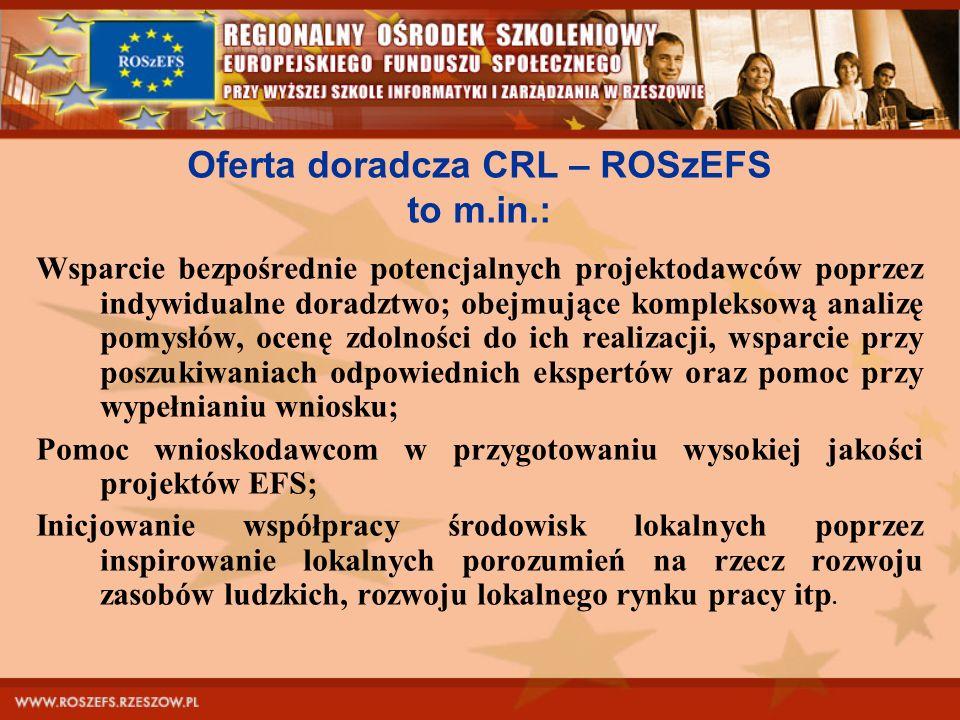 Oferta doradcza CRL – ROSzEFS to m.in.: Wsparcie bezpośrednie potencjalnych projektodawców poprzez indywidualne doradztwo; obejmujące kompleksową anal