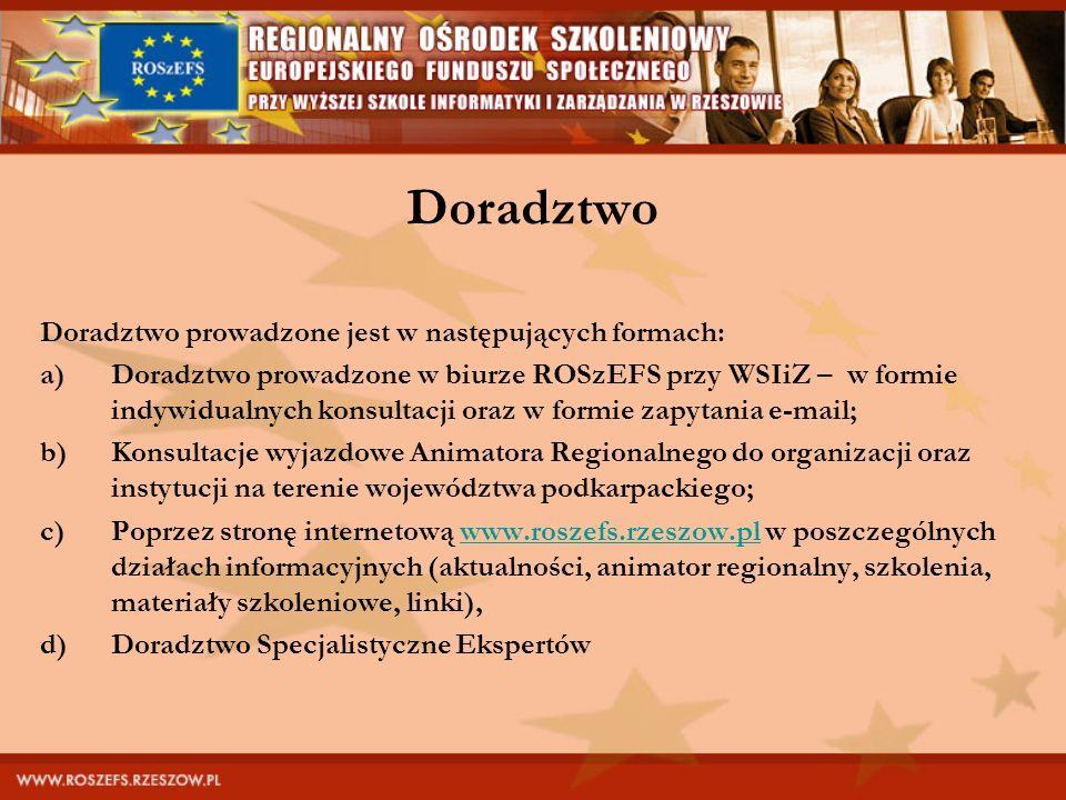 Doradztwo Doradztwo prowadzone jest w następujących formach: a)Doradztwo prowadzone w biurze ROSzEFS przy WSIiZ – w formie indywidualnych konsultacji