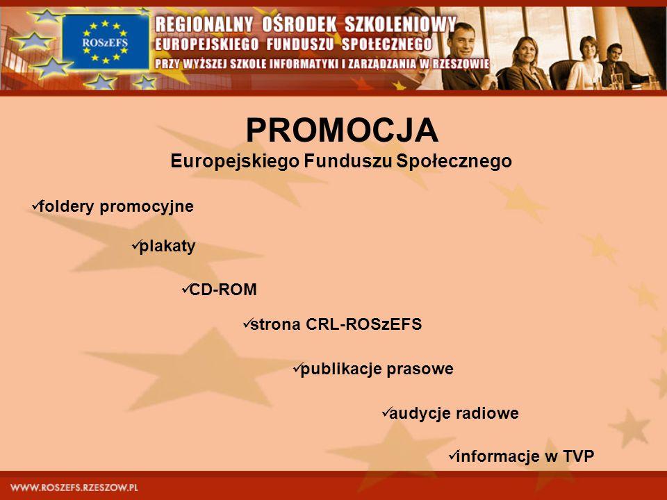 PROMOCJA Europejskiego Funduszu Społecznego foldery promocyjne plakaty CD-ROM strona CRL-ROSzEFS publikacje prasowe audycje radiowe informacje w TVP
