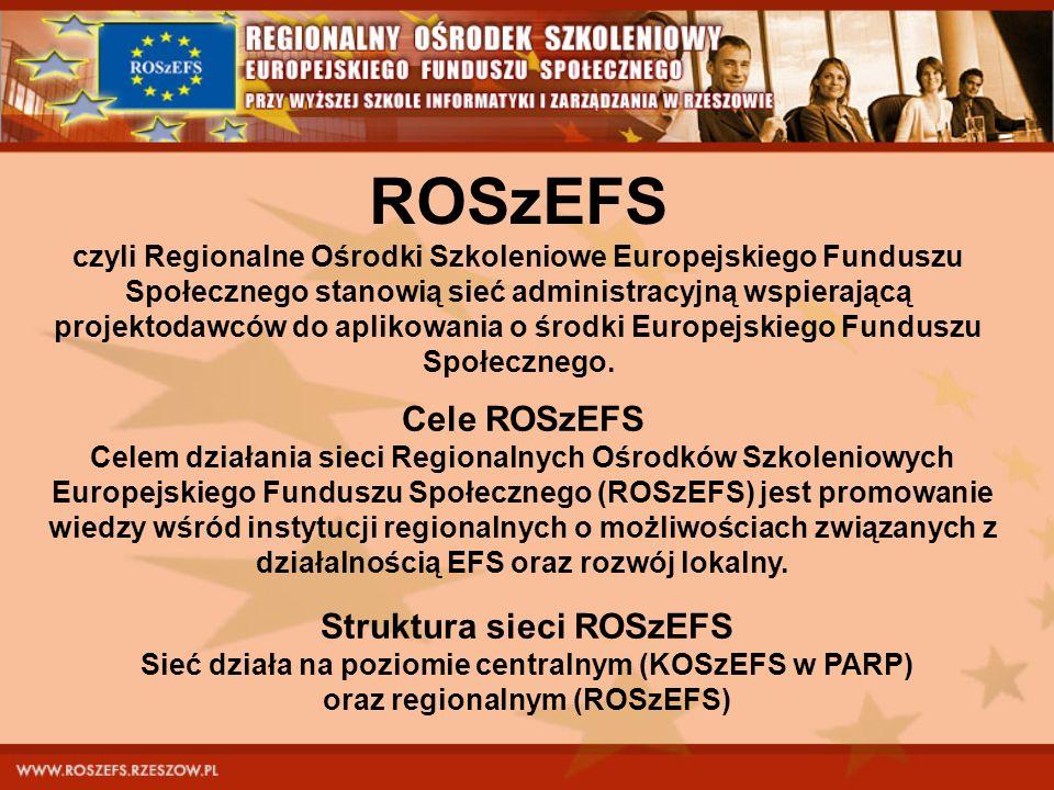 ROSzEFS czyli Regionalne Ośrodki Szkoleniowe Europejskiego Funduszu Społecznego stanowią sieć administracyjną wspierającą projektodawców do aplikowani