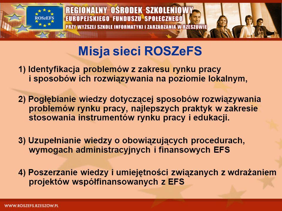 Misja sieci ROSZeFS 1) Identyfikacja problemów z zakresu rynku pracy i sposobów ich rozwiązywania na poziomie lokalnym, 2) Pogłębianie wiedzy dotycząc