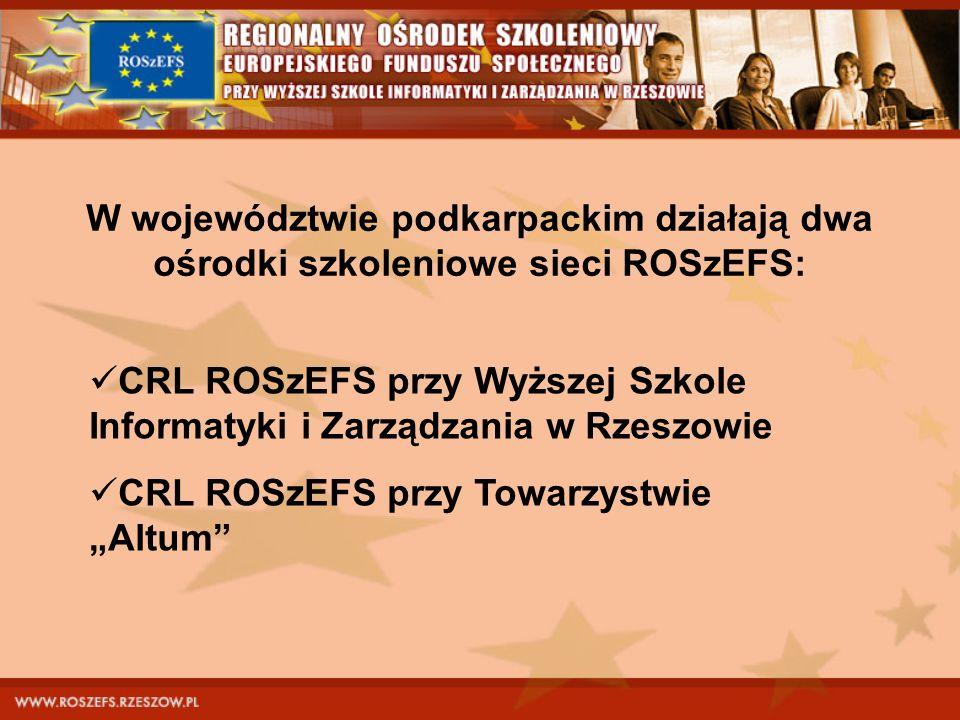 W województwie podkarpackim działają dwa ośrodki szkoleniowe sieci ROSzEFS: CRL ROSzEFS przy Wyższej Szkole Informatyki i Zarządzania w Rzeszowie CRL