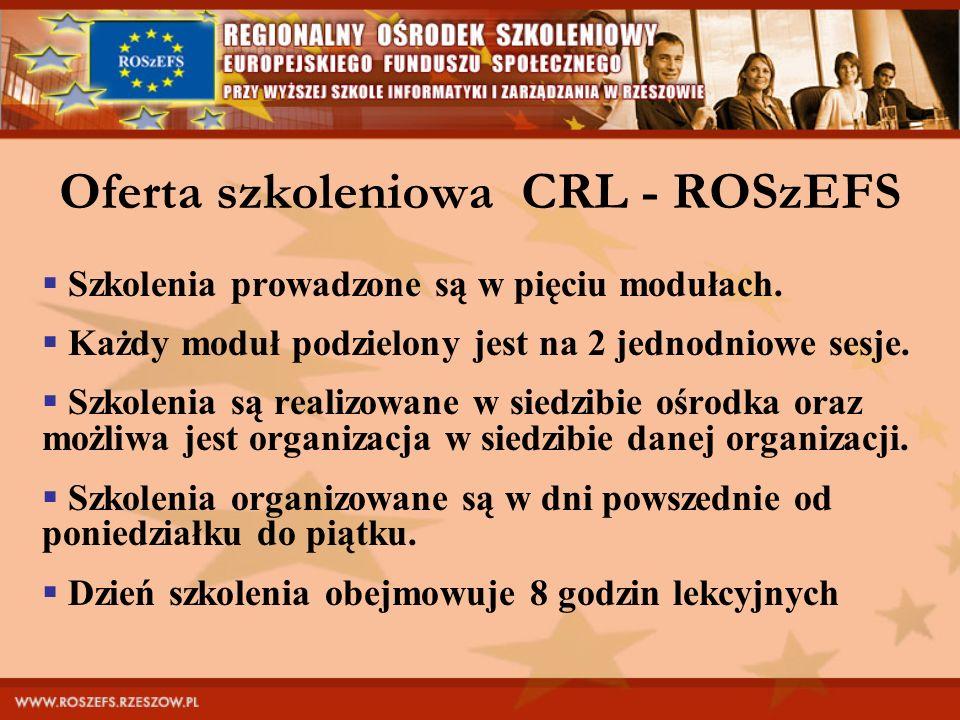 Oferta szkoleniowa CRL - ROSzEFS Szkolenia prowadzone są w pięciu modułach. Każdy moduł podzielony jest na 2 jednodniowe sesje. Szkolenia są realizowa