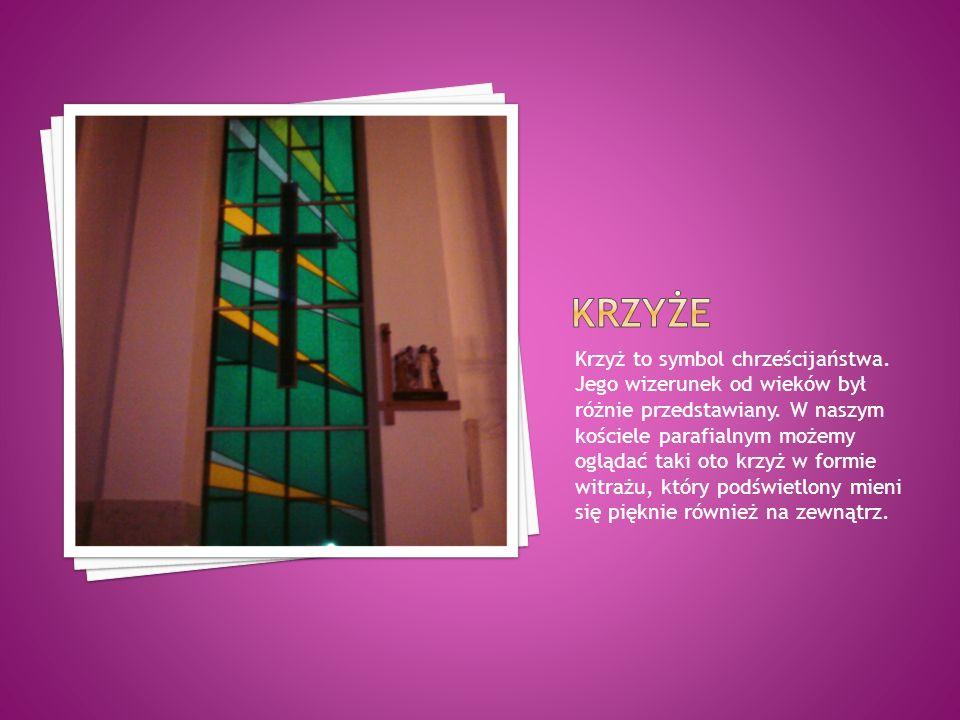 Krzyż to symbol chrześcijaństwa. Jego wizerunek od wieków był różnie przedstawiany. W naszym kościele parafialnym możemy oglądać taki oto krzyż w form