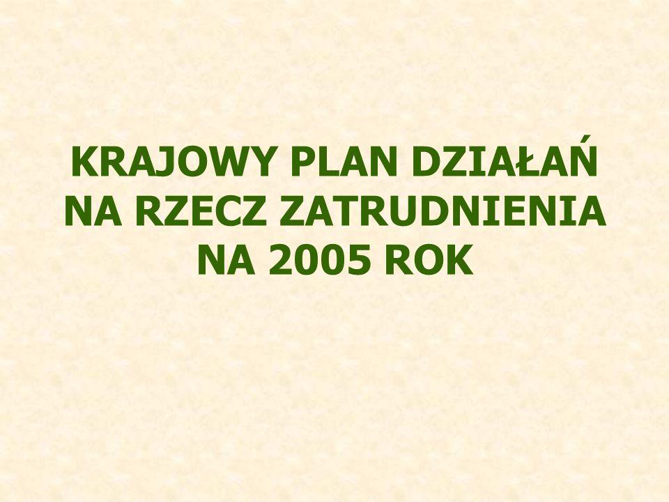 KRAJOWY PLAN DZIAŁAŃ NA RZECZ ZATRUDNIENIA NA 2005 ROK