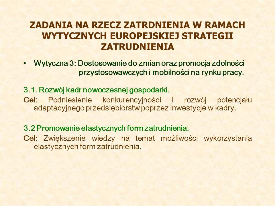 ZADANIA NA RZECZ ZATRDNIENIA W RAMACH WYTYCZNYCH EUROPEJSKIEJ STRATEGII ZATRUDNIENIA Wytyczna 3: Dostosowanie do zmian oraz promocja zdolności przysto