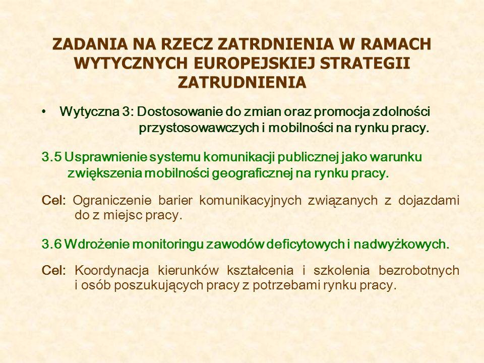 ZADANIA NA RZECZ ZATRDNIENIA W RAMACH WYTYCZNYCH EUROPEJSKIEJ STRATEGII ZATRUDNIENIA Wytyczna 3: Dostosowanie do zmian oraz promocja zdolności przystosowawczych i mobilności na rynku pracy.