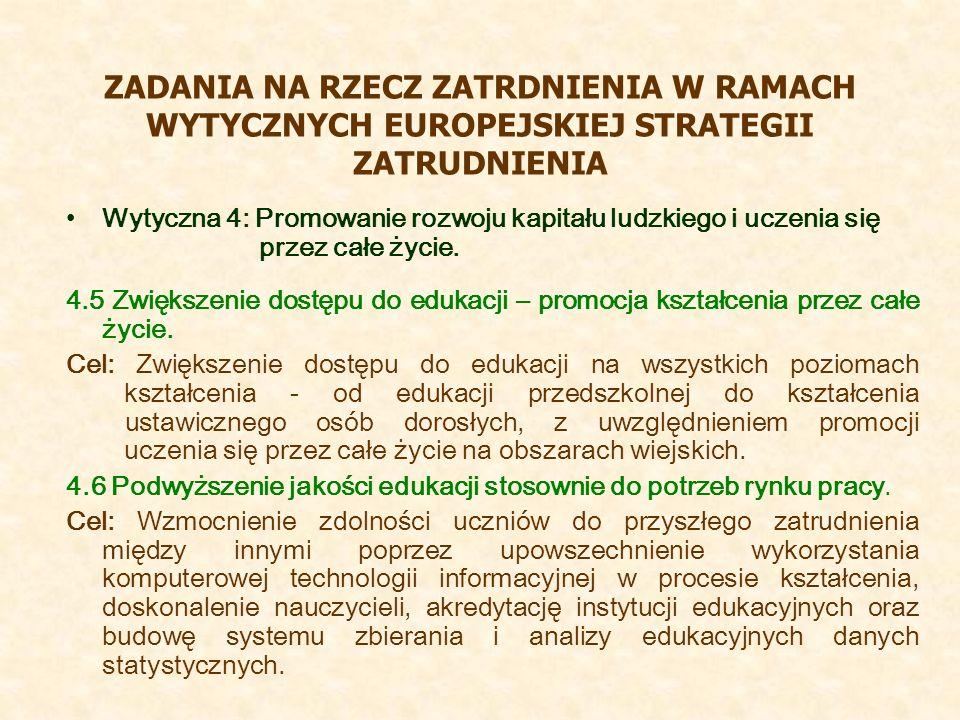 ZADANIA NA RZECZ ZATRDNIENIA W RAMACH WYTYCZNYCH EUROPEJSKIEJ STRATEGII ZATRUDNIENIA Wytyczna 4: Promowanie rozwoju kapitału ludzkiego i uczenia się przez całe życie.