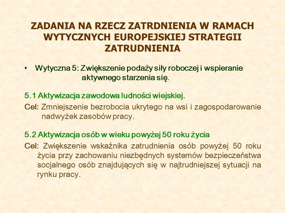 ZADANIA NA RZECZ ZATRDNIENIA W RAMACH WYTYCZNYCH EUROPEJSKIEJ STRATEGII ZATRUDNIENIA Wytyczna 5: Zwiększenie podaży siły roboczej i wspieranie aktywnego starzenia się.