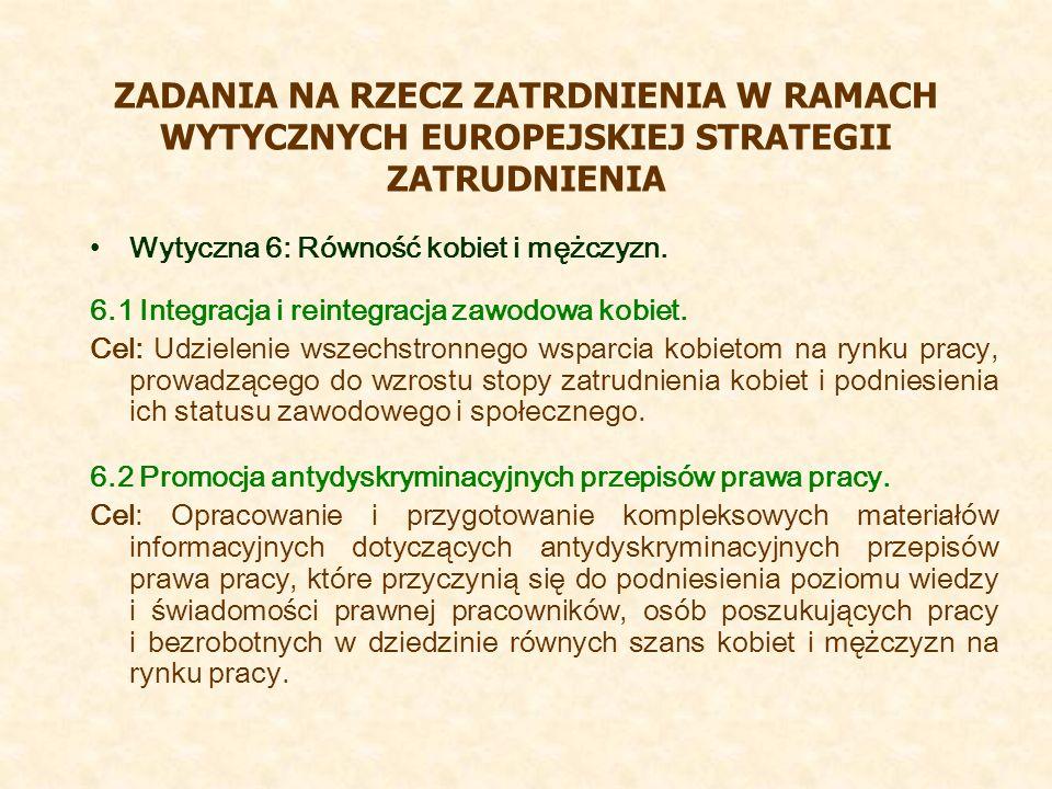 ZADANIA NA RZECZ ZATRDNIENIA W RAMACH WYTYCZNYCH EUROPEJSKIEJ STRATEGII ZATRUDNIENIA Wytyczna 6: Równość kobiet i mężczyzn. 6.1 Integracja i reintegra