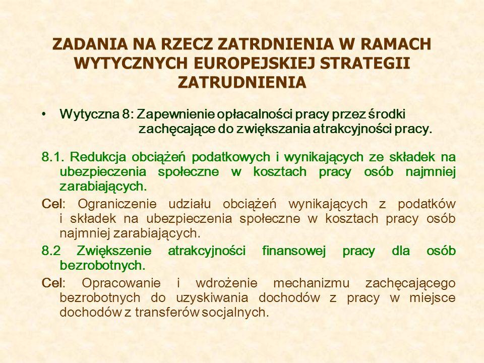 ZADANIA NA RZECZ ZATRDNIENIA W RAMACH WYTYCZNYCH EUROPEJSKIEJ STRATEGII ZATRUDNIENIA Wytyczna 8: Zapewnienie opłacalności pracy przez środki zachęcające do zwiększania atrakcyjności pracy.