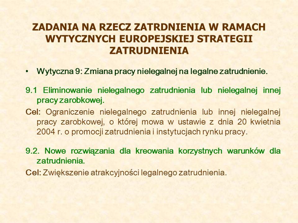 ZADANIA NA RZECZ ZATRDNIENIA W RAMACH WYTYCZNYCH EUROPEJSKIEJ STRATEGII ZATRUDNIENIA Wytyczna 9: Zmiana pracy nielegalnej na legalne zatrudnienie. 9.1