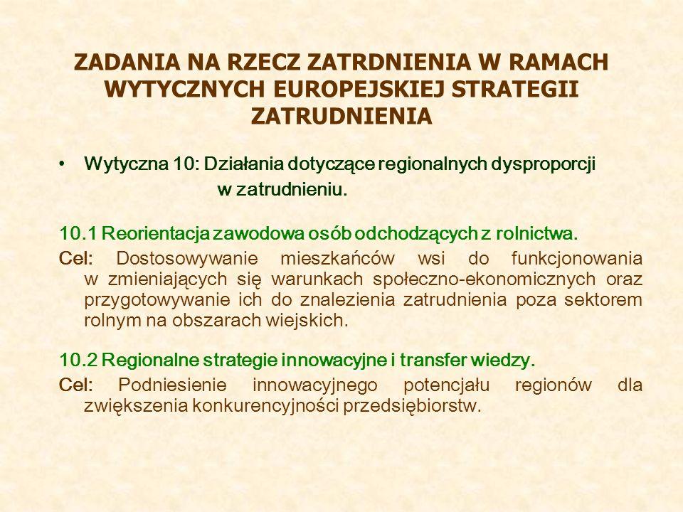 ZADANIA NA RZECZ ZATRDNIENIA W RAMACH WYTYCZNYCH EUROPEJSKIEJ STRATEGII ZATRUDNIENIA Wytyczna 10: Działania dotyczące regionalnych dysproporcji w zatrudnieniu.