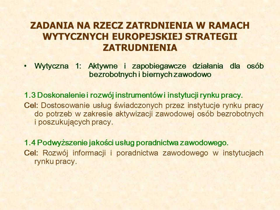 ZADANIA NA RZECZ ZATRDNIENIA W RAMACH WYTYCZNYCH EUROPEJSKIEJ STRATEGII ZATRUDNIENIA Wytyczna 1: Aktywne i zapobiegawcze działania dla osób bezrobotnych i biernych zawodowo 1.3 Doskonalenie i rozwój instrumentów i instytucji rynku pracy.