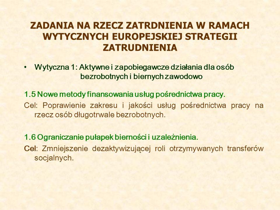 ZADANIA NA RZECZ ZATRDNIENIA W RAMACH WYTYCZNYCH EUROPEJSKIEJ STRATEGII ZATRUDNIENIA Wytyczna 1: Aktywne i zapobiegawcze działania dla osób bezrobotnych i biernych zawodowo 1.5 Nowe metody finansowania usług pośrednictwa pracy.