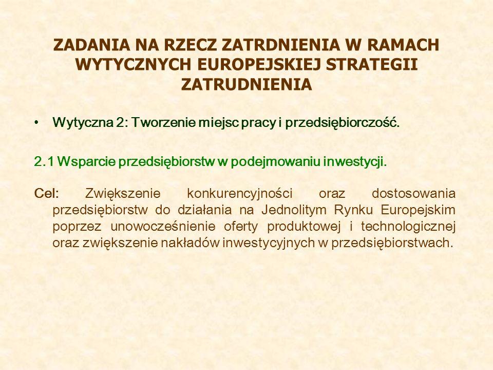 ZADANIA NA RZECZ ZATRDNIENIA W RAMACH WYTYCZNYCH EUROPEJSKIEJ STRATEGII ZATRUDNIENIA Wytyczna 2: Tworzenie miejsc pracy i przedsiębiorczość. 2.1 Wspar