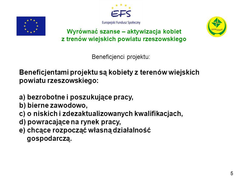 5 Wyrównać szanse – aktywizacja kobiet z trenów wiejskich powiatu rzeszowskiego Beneficjenci projektu: Beneficjentami projektu są kobiety z terenów wi