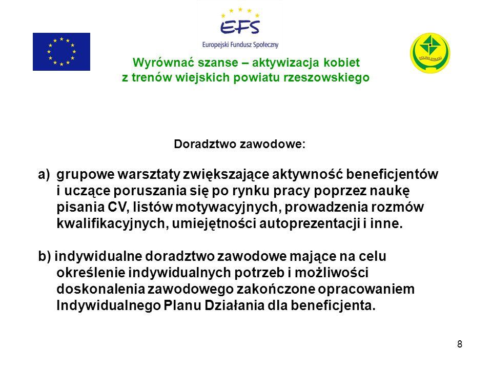 8 Wyrównać szanse – aktywizacja kobiet z trenów wiejskich powiatu rzeszowskiego Doradztwo zawodowe: a)grupowe warsztaty zwiększające aktywność benefic