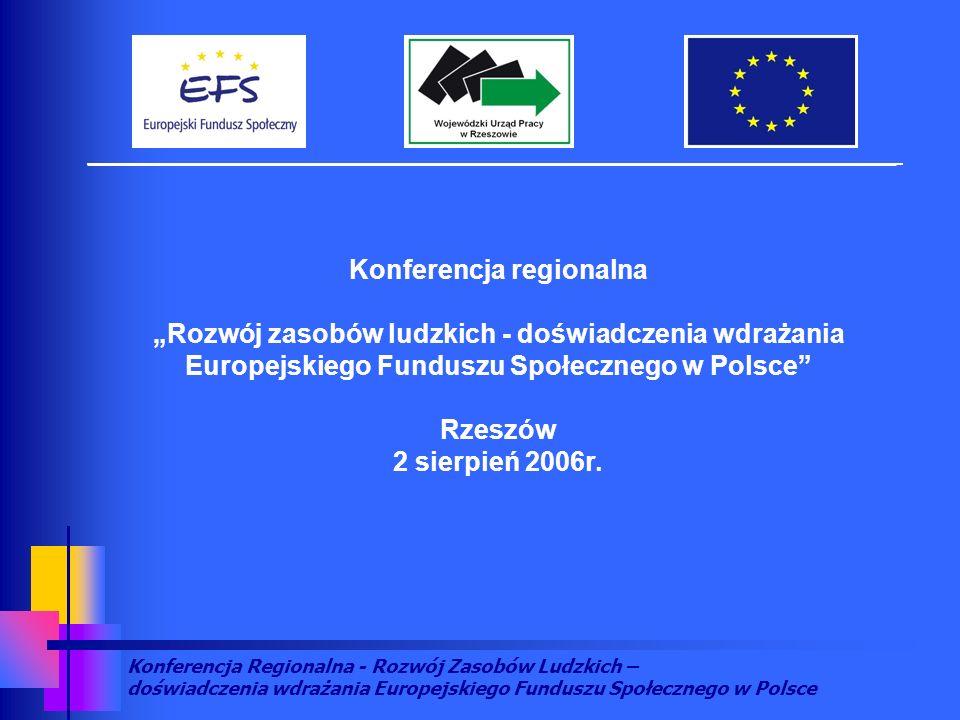 Konferencja Regionalna - Rozwój Zasobów Ludzkich – doświadczenia wdrażania Europejskiego Funduszu Społecznego w Polsce Konferencja regionalna Rozwój zasobów ludzkich - doświadczenia wdrażania Europejskiego Funduszu Społecznego w Polsce Rzeszów 2 sierpień 2006r.