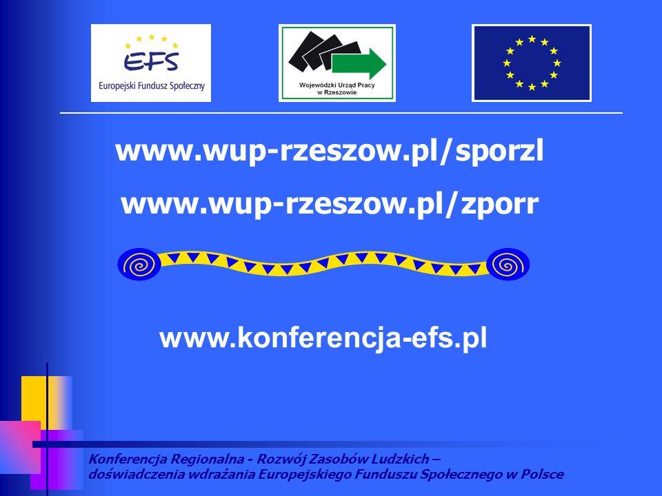Konferencja Regionalna - Rozwój Zasobów Ludzkich – doświadczenia wdrażania Europejskiego Funduszu Społecznego w Polsce www.wup-rzeszow.pl/sporzl www.wup-rzeszow.pl/zporr www.konferencja-efs.pl