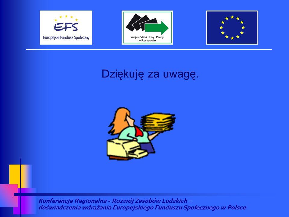 Konferencja Regionalna - Rozwój Zasobów Ludzkich – doświadczenia wdrażania Europejskiego Funduszu Społecznego w Polsce Dziękuję za uwagę.