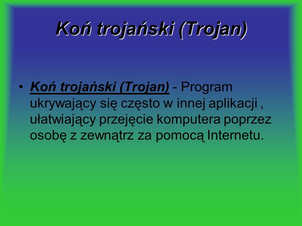 Koń trojański (Trojan) Koń trojański (Trojan) - Program ukrywający się często w innej aplikacji, ułatwiający przejęcie komputera poprzez osobę z zewną