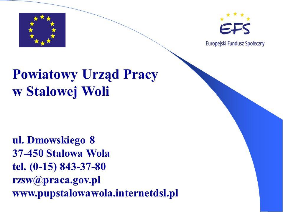 Powiatowy Urząd Pracy w Stalowej Woli ul. Dmowskiego 8 37-450 Stalowa Wola tel. (0-15) 843-37-80 rzsw@praca.gov.pl www.pupstalowawola.internetdsl.pl