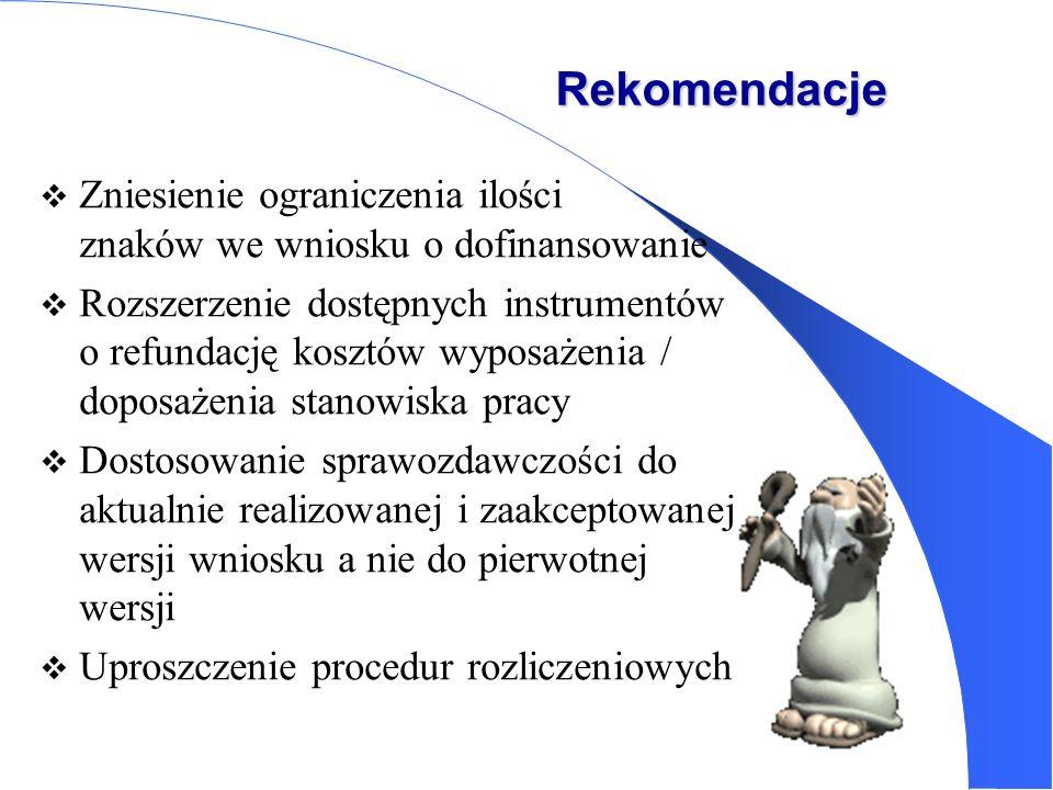 Rekomendacje Zniesienie ograniczenia ilości znaków we wniosku o dofinansowanie Rozszerzenie dostępnych instrumentów o refundację kosztów wyposażenia /