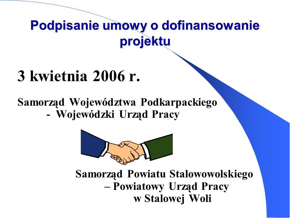 Podpisanie umowy o dofinansowanie projektu 3 kwietnia 2006 r. Samorząd Województwa Podkarpackiego - Wojewódzki Urząd Pracy Samorząd Powiatu Stalowowol