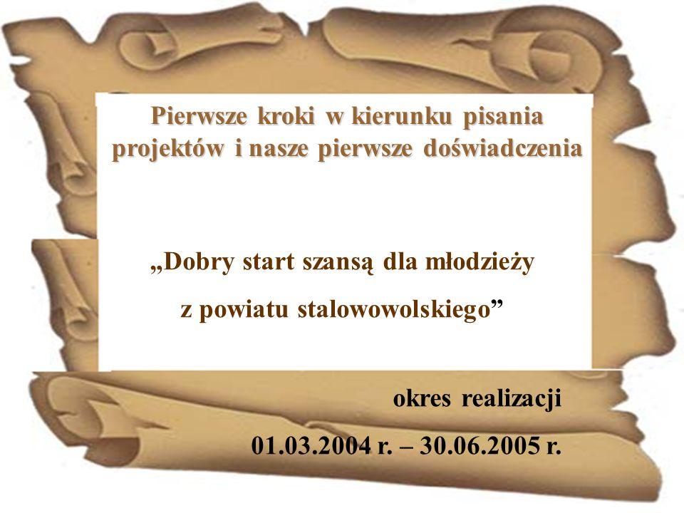 Pierwsze kroki w kierunku pisania projektów i nasze pierwsze doświadczenia Dobry start szansą dla młodzieży z powiatu stalowowolskiego okres realizacj