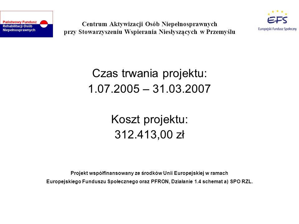 Centrum Aktywizacji Osób Niepełnosprawnych przy Stowarzyszeniu Wspierania Niesłyszących w Przemyślu Czas trwania projektu: 1.07.2005 – 31.03.2007 Kosz
