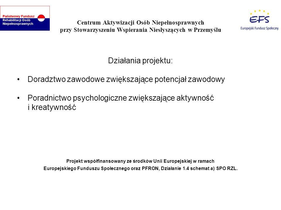 Centrum Aktywizacji Osób Niepełnosprawnych przy Stowarzyszeniu Wspierania Niesłyszących w Przemyślu Uczestnikom zajęć, Centrum oferuje: Refundację kosztów dojazdu na zajęcia Zapewnienie opieki osobie niepełnosprawnej lub współzależnej Materiały szkoleniowe Poczęstunek Projekt współfinansowany ze środków Unii Europejskiej w ramach Europejskiego Funduszu Społecznego oraz PFRON, Działanie 1.4 schemat a) SPO RZL.
