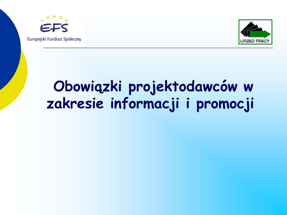Obowiązki projektodawców w zakresie informacji i promocji